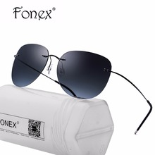 FONEX 2017 Screwless Rimless Sunglasses Women Mirrored Polarized Sunglass Aviation Pilot Titanium Alloy Sun Glasses for Men 8613