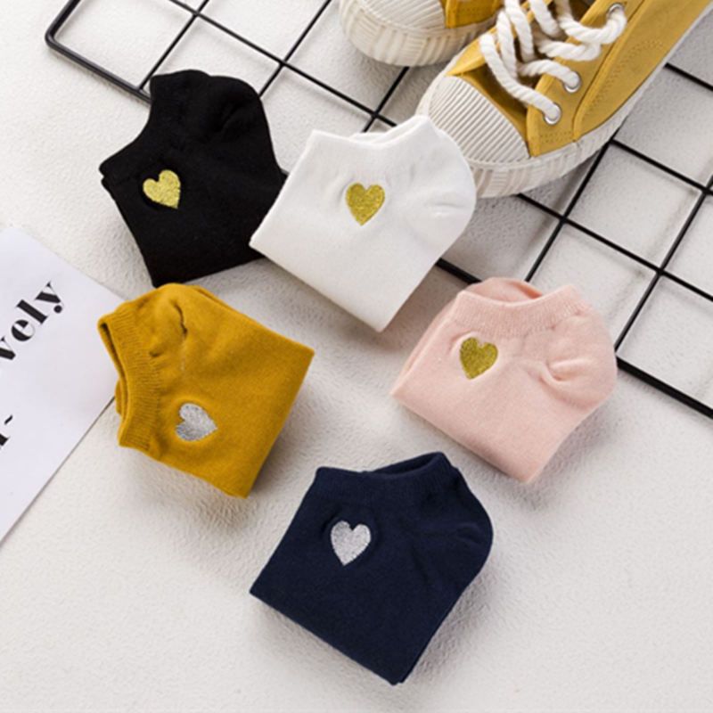 2019 Fashion Heart Solid Color Cotton Socks Female Summer Short Socks Slippers Women Casual Soft Socks