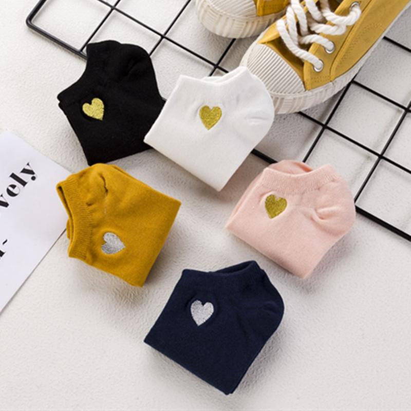 2019 Fashion Heart Solid Color Cotton Socks Female Summer Short Socks Slippers Women Casual Soft Socks