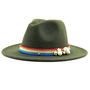 7016a9d80755 Sombrero Fedora de lana negra para hombres mujeres elegante de ala ancha  sombreros Trilby estilo ...