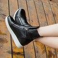 Женщины Повседневная Обувь 2017 Весна Натуральная Кожа Женщины Сапоги Белый Черный Платформа Женщины Мода Обувь Высокие Верхние Плоские С Ботинками