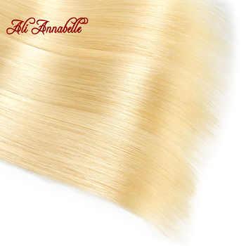 アリアナベル 613 バンドル前頭マレーシアストレート人間の髪 3 バンドルと閉鎖ブロンドバンドル付フロンタルの Remy