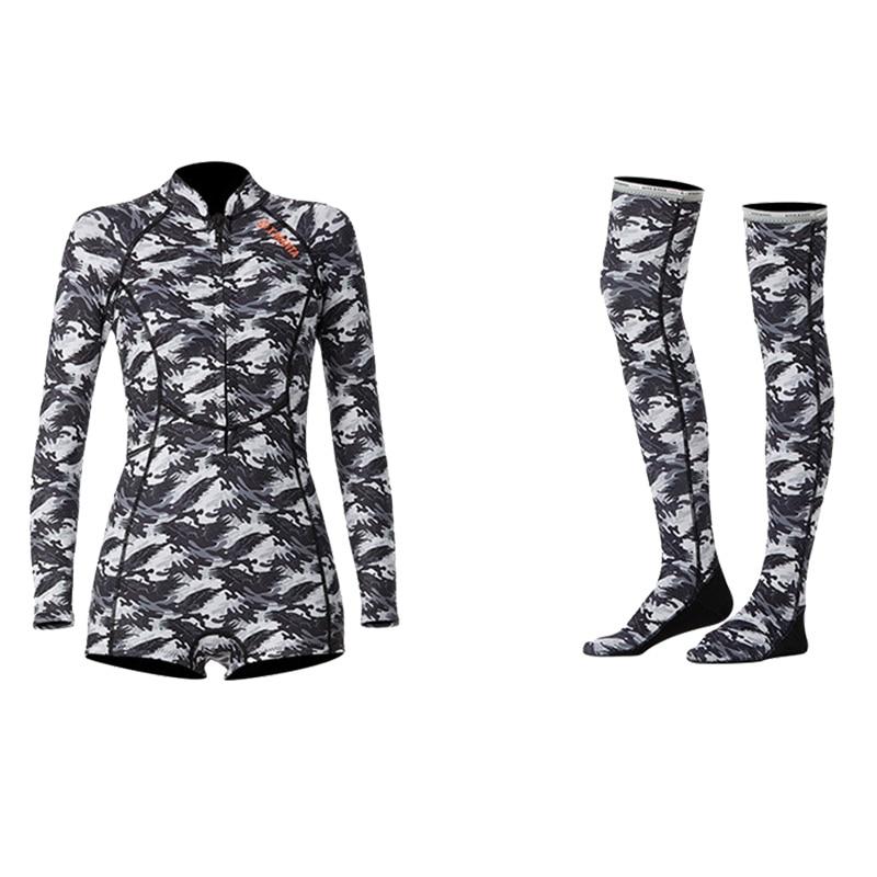 1,5 мм неопрен бикини гидрокостюм УФ Защита с длинным рукавом Дайвинг костюм купальный костюм серфинг подводное плавание чулки купальники - Цвет: Set Camouflage