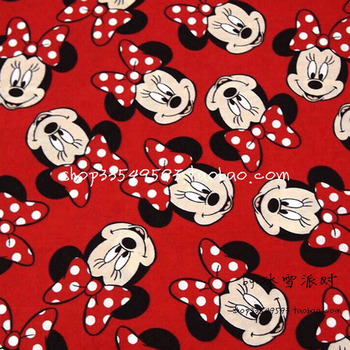140*50cm 1pc Minnie Fabric 100%Cotton Fabric Patchwork Red Minnie Fabric Cotton Sewing Material DIY Clothing Baby Minnie Fabric фото