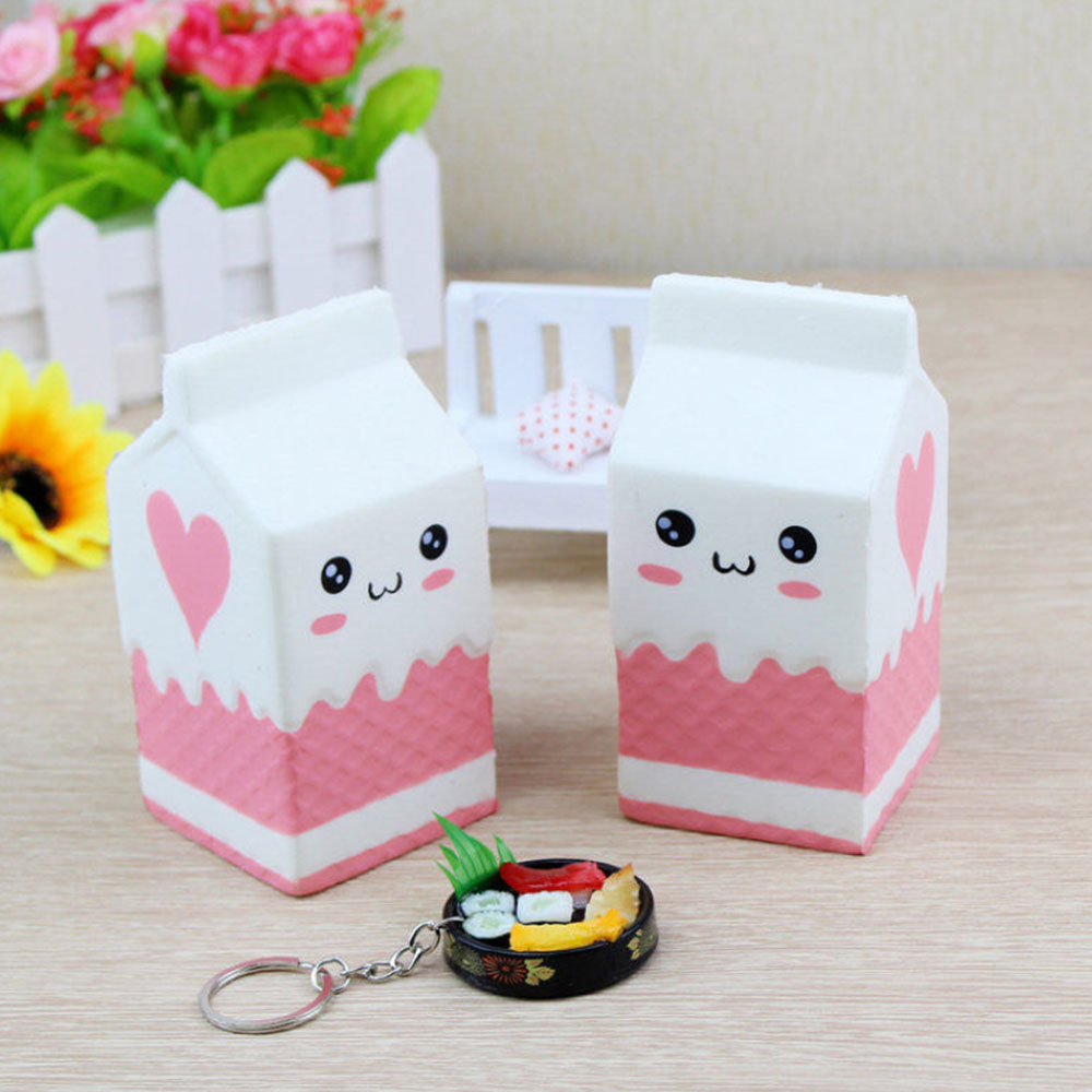 Milk Carton Phone Straps Slow Rising Soft Stress Reliever Bread Kids Toy