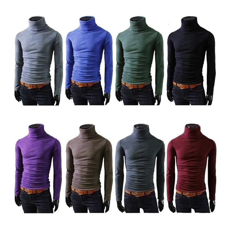 8 cores Marca Outono Homens Camisola de Malha Malhas Pretas Casuais Inverno Masculino Pullover Blusas de Gola Alta Polo Sweter Puxar