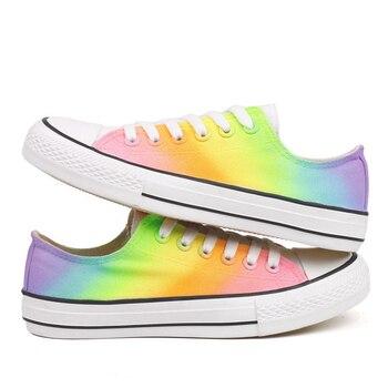22c474e07 E-LOV разноцветная Радужная текстильная обувь с ручной росписью низкая  Женская Повседневная прогулочная обувь для девочек Женская обувь на п.