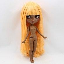 Factory Neo Blythe Doll Dark Skin Orange Hair Jointed Body 30cm