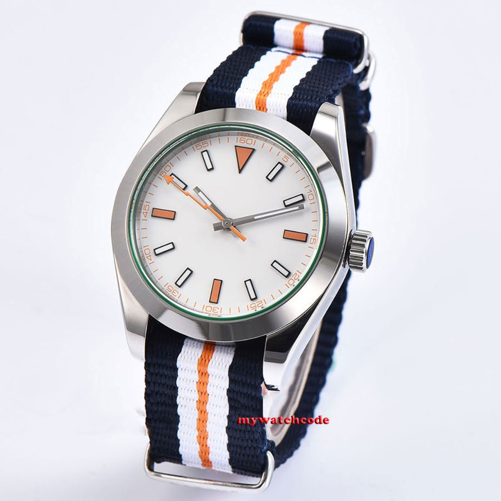 polished 40mm parnis white dial sapphire glass 316L steel automatic mens watch 40mm parnis white dial vintage automatic movement mens watch p25