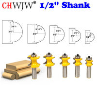 5Pc Bullnose Router Bit Set C3 Carbide Tipped 1 2 Shank Woodworking Cutter Chwjw 13515
