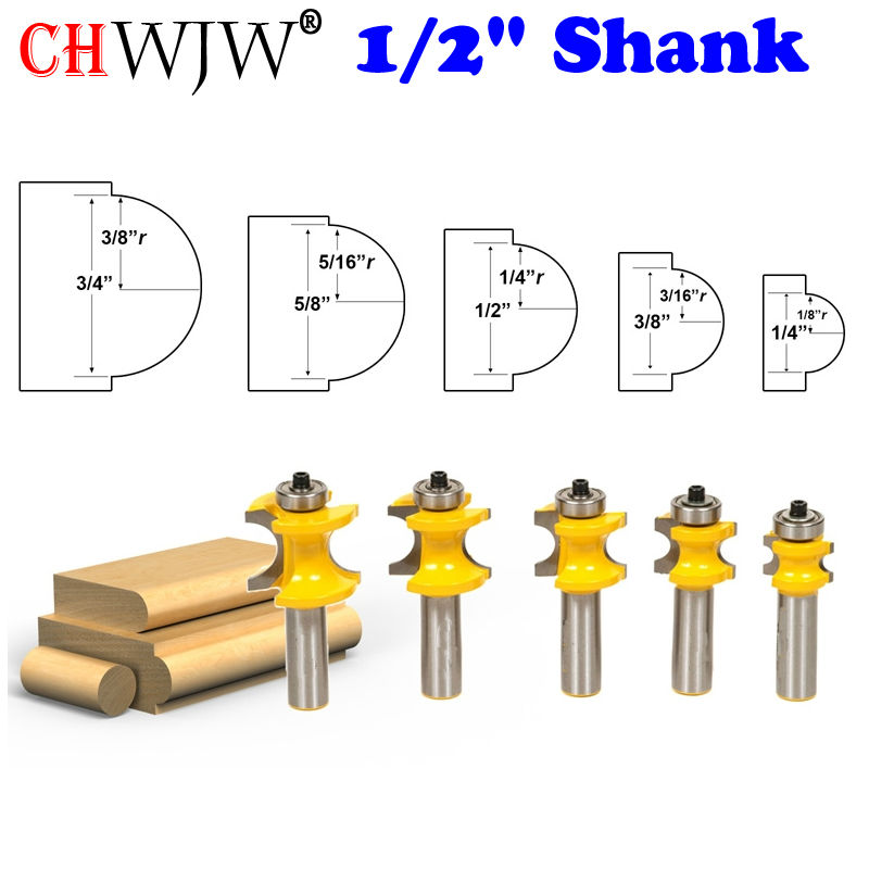 5Pc Bullnose Router Bit Set C3 Carbide Tipped 1/2 Shank Woodworking cutter - Chwjw 13515 high grade carbide alloy 1 2 shank 2 1 4 dia bottom cleaning router bit woodworking milling cutter for mdf wood 55mm mayitr