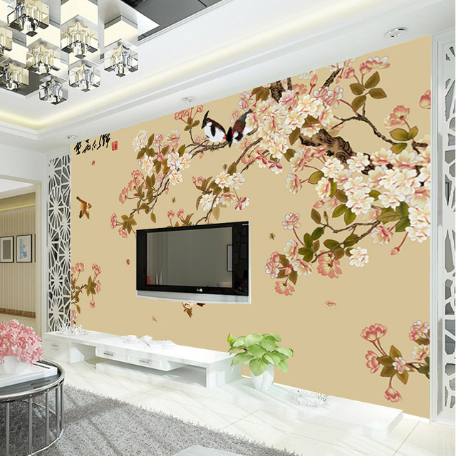 Buy vintage bird and flower wallpaper for Designer wallpaper mural