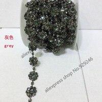 Free Shipping 1 Yard Pack 1 2cm Flower Grey Crystal Rhinestone Chain Yard Trims Sewing On