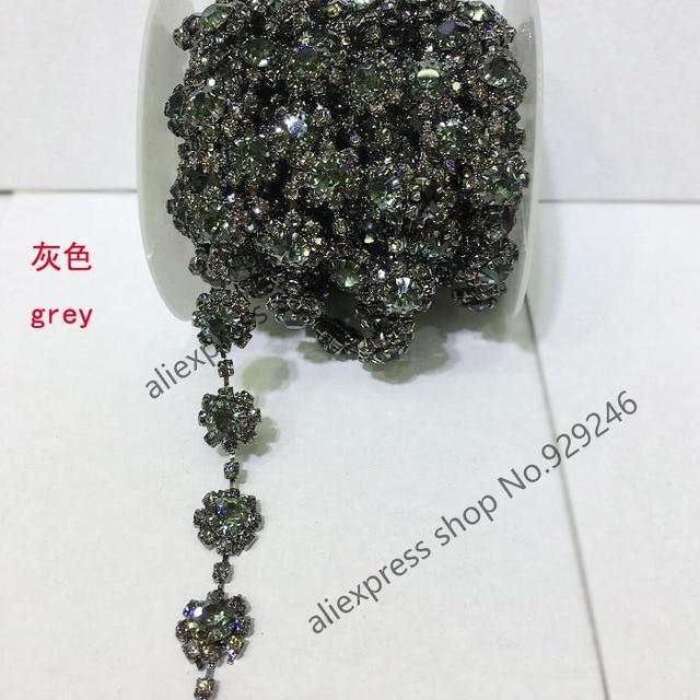 free shipping 1 yard pack 1.2cm flower grey crystal rhinestone chain yard  trims sewing-on fashion garment clothing decoration 390aefdce0de