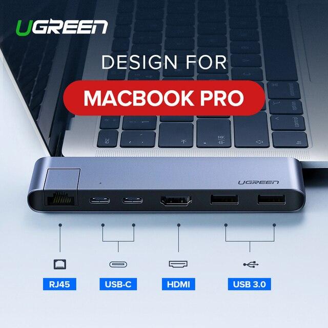 Ugreen USB C концентратор двойной тип C для Мульти USB 3,0 HDMI для MacBook Pro адаптер Thunderbolt 3 док-станция USB-C 3,1 сплиттер порт USB-C концентратор