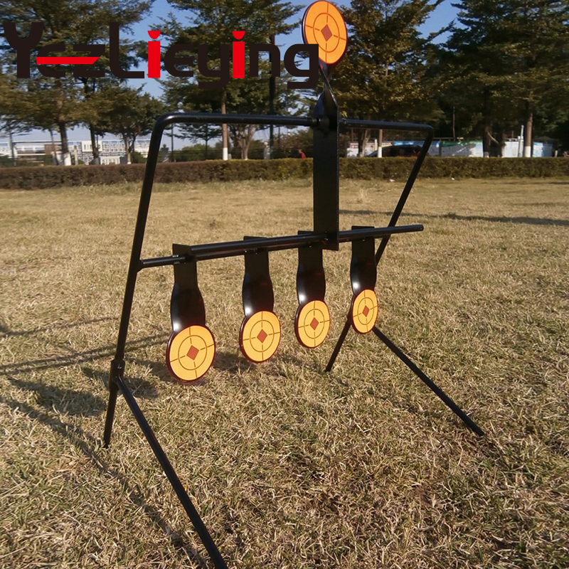 Heavy duty steel made outdoor tactical airgun paintball airgun 5-plate reset target for improved shooting tactics and techniques