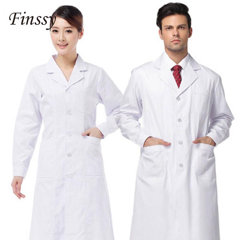 2019 White Lab Coat Doctor Nurse Women Clothing Hospital Scientist School Men Fancy Dress Costume For Uniform Work Wear Adults
