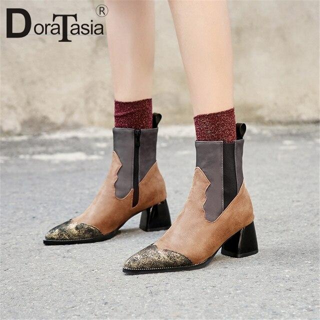 DoraTasia nowy 32-48 Plus Sizeclassic Chelsea kobiety kostki buty mieszane kolor elastyczna opaska 6 cm wysokie obcasy kwadratowe buty kobieta