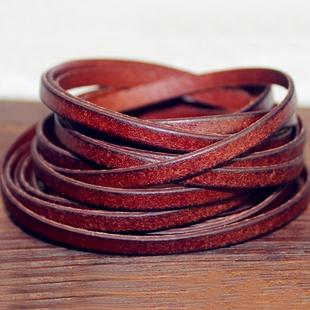 Vintage Genuine Cowhide Leather Strip Flat Rope DIY Leather Craft Jewelry Bag 5 Meters Leathercraft