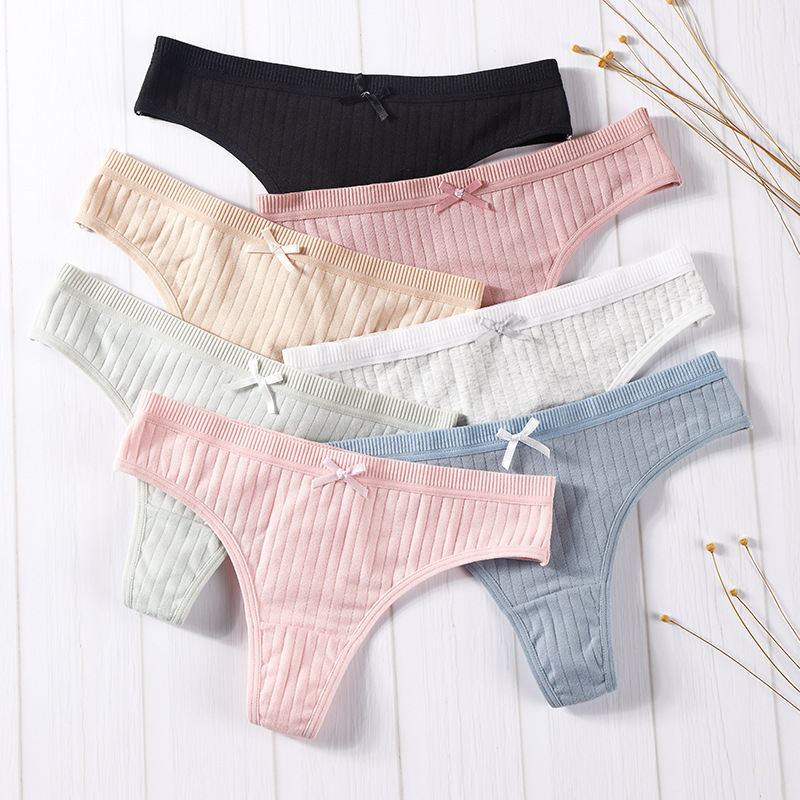 <font><b>2Pcs</b></font> <font><b>Women</b></font> Cotton Panties <font><b>Bowknot</b></font> G-String Panties Cute Low Waist <font><b>Women's</b></font> Underwear Comfortable <font><b>Sexy</b></font> <font><b>Lingerie</b></font> Briefs Panties image