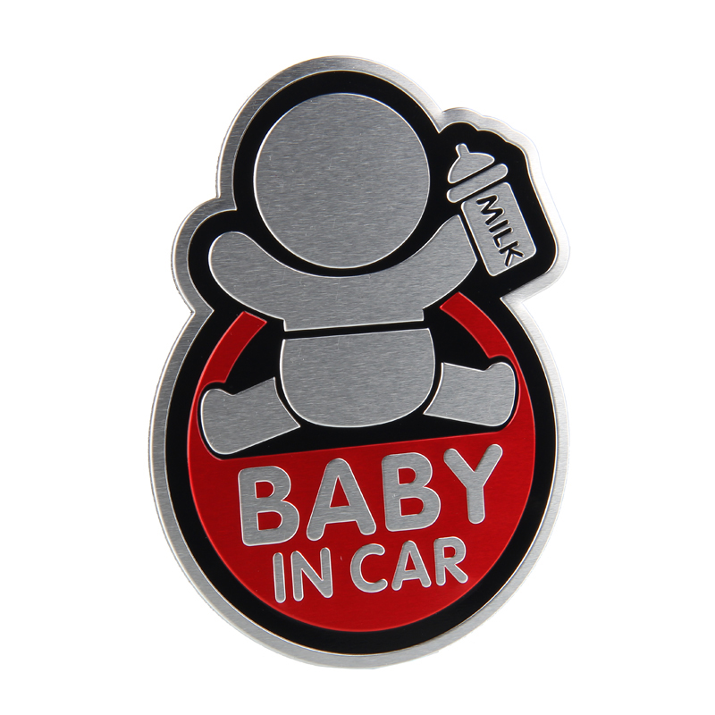 10*7.5CM Car Styling Aluminum Alloy Emblem Badge for BABY in CAR Logo Sticker for Mitsubishi Ford Jaguar Ferrari Hyundai Toyota