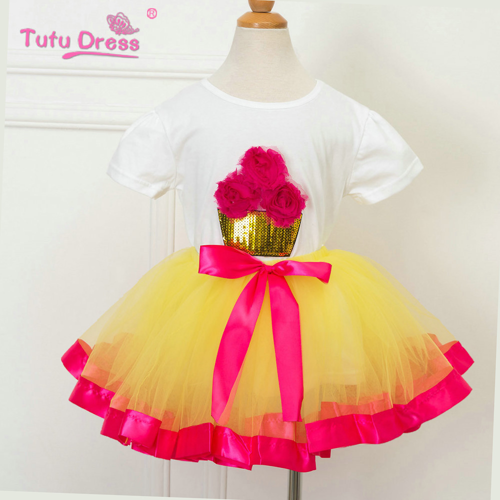 Flower Birthday Outfit Retail 2017 New Summer Kids Girls Clothing Set Cotton T-shirt Dress Baby Girls Suits Set retail 2017 new kids girls clothing set cartoon t shirt dress cotton baby girls suits set fashion children girl clothes