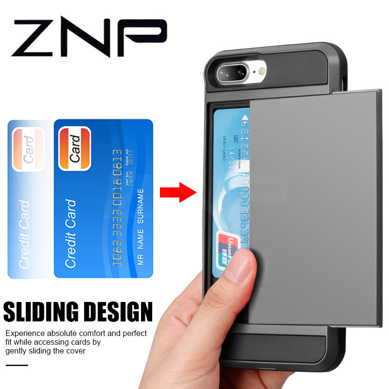 huge discount 60ded 95d6f ZNP Armor Slide Card Slot Holder Phone Case For iphone 6 6s 8 7 Plus X 10  Full Cover For iphone XS Max XR Case Protective Shell
