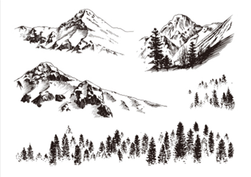 Snow Mountain Forest Stamp Clear Stamp For Scrapbooking