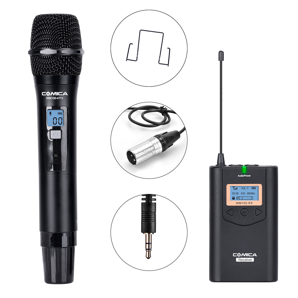 Comica CVM-WM100 H UHF 48 Channels Wireless Handheld Microphone System Kit For Canon Nikon DSLR Cameras And Smartphones Etc.