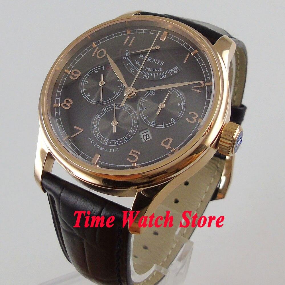 Lujo 42mm parnis hombre reloj multifunción de oro caso de cristal de zafiro 26 joyas miyota 9100 movimiento automático 998