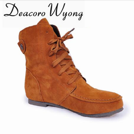 ФОТО Spring and autumn winter new flat women's boots candy color casual women's boots Martin boots women's large size boots EUR34-43