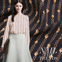 114cm Width 16mm Fashion Chain Mulberry Silk Stretch Satin Fabric for Woman Summer Dress Blouse Pants DIY Sewing