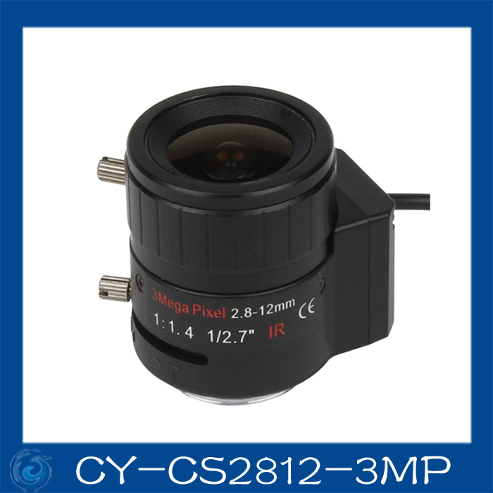 Free shipping  3MP cctv camera lens2.8-12mm DC Iris lens, 1/2.7