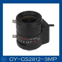 Gratis verzending 3MP cctv camera lens2.8-12mm DC Iris lens, 1/2. 7