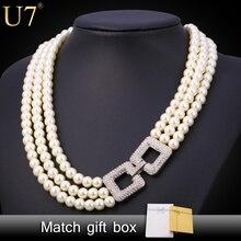 U7 simulado joyería de perlas collar de las mujeres de moda al por mayor de joyería de moda de la boda de múltiples capas collares n452