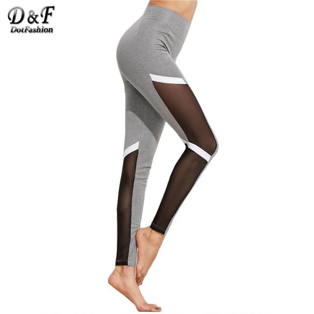 Dotfashion Sexy Aptidão Leggings Leggings Grife Leggings Patchwork Bloco Cor Da Moda Malha Insert Leggings de Fitness