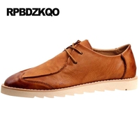 Footwear Men Shoes Casual Fashion Breathable Wingtip Vintage Lace Up Flats Work Driving Brown British Style