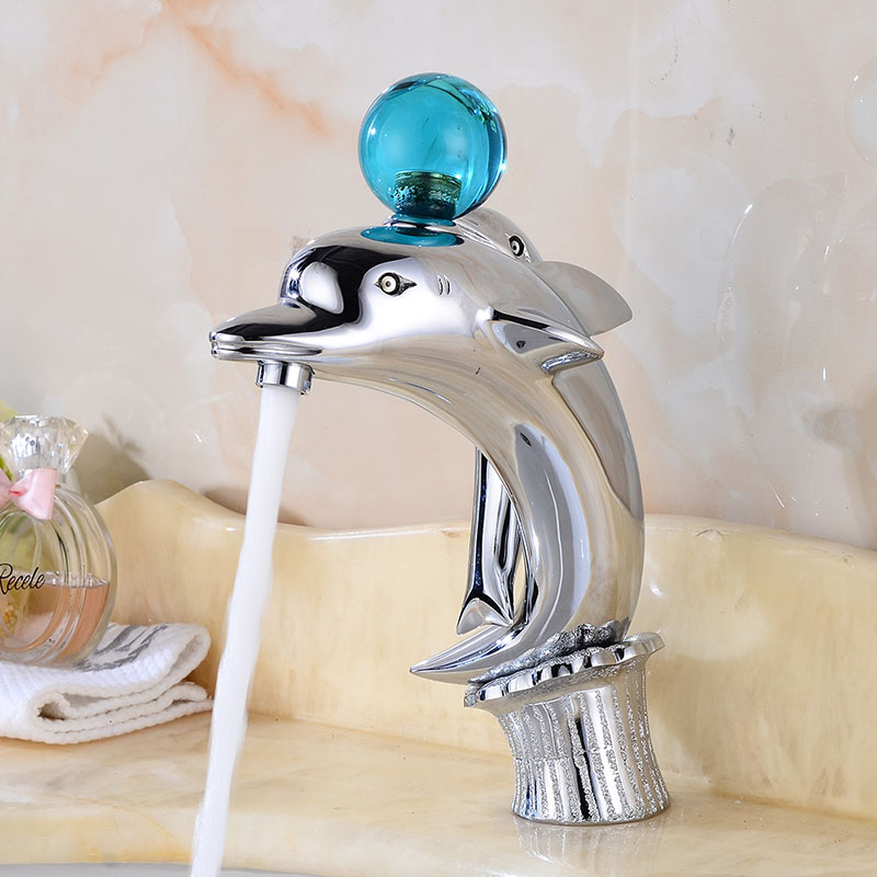 Chrome Brass Dolphin Faucet Bathroom Faucet Vessel Sink Basin Faucet Mixer  Tap Ball Handle Cold Hot Water Taps Gold ORB Black In Basin Faucets From  Home ...