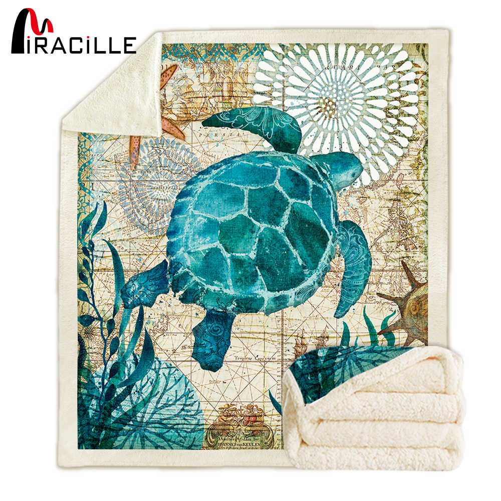 Miracille Soft Plush Turtle Throw Blankets Double Layers Sherpa Fleece Nap Blanket Winter Living Room Warm Bedspread