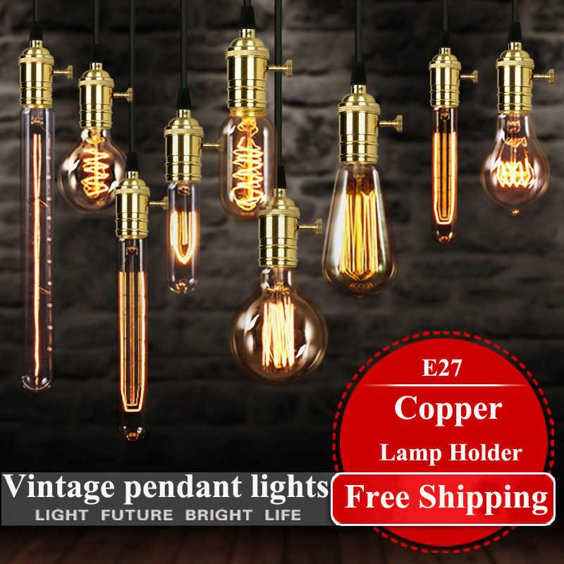 Americano do vintage pendente luzes suporte da lâmpada de cobre luz de tungstênio lâmpada indústria lâmpadas pingente de Ouro/Cromo E27 W-filamento lâmpada