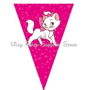 Image 2 - Vajilla desechable con dibujo de gato rosa de Los Aristogatos para Fiesta Temática, plato para Baby Shower, suministros de decoración
