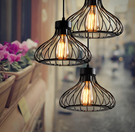 Nordic Loft Iron Art Cage Pendant Light Fixtures Edison Industrial Vintage Lighting For Living Dining Room Bar Hanging Lamp стоимость