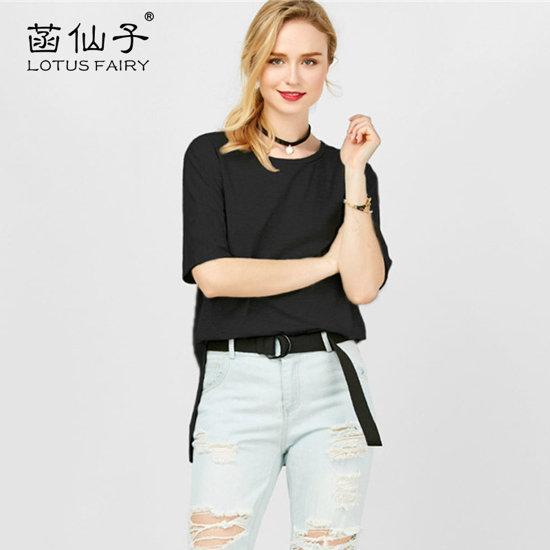 Lotus fairy female T-shirt split long Tee shirt women brief casual top tee T-shirts for women summer tops loose solid round neck