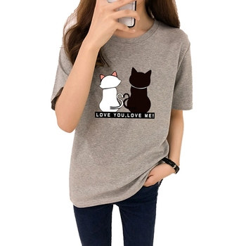 Liva girl Causal Summer Women T-shirt Two Cats Print T-shirts Women Short Sleeve O Neck Cotton Tops Tees Slim t shirt for girls
