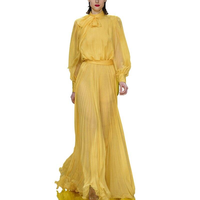 Для женщин юбки и Топ Устанавливает Повседневное Женщина комплект рубашка с длинными рукавами + длиной до пола платье костюмы Офисные женск