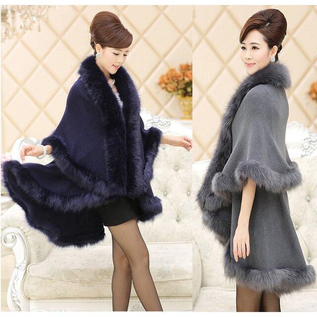 12 cores Novo Longa Solto casaco de Pele Casaco de Caxemira Das Mulheres de Pele De Raposa de Luxo Cape Pashmina Xale de Pele De Coelho Inverno Quente