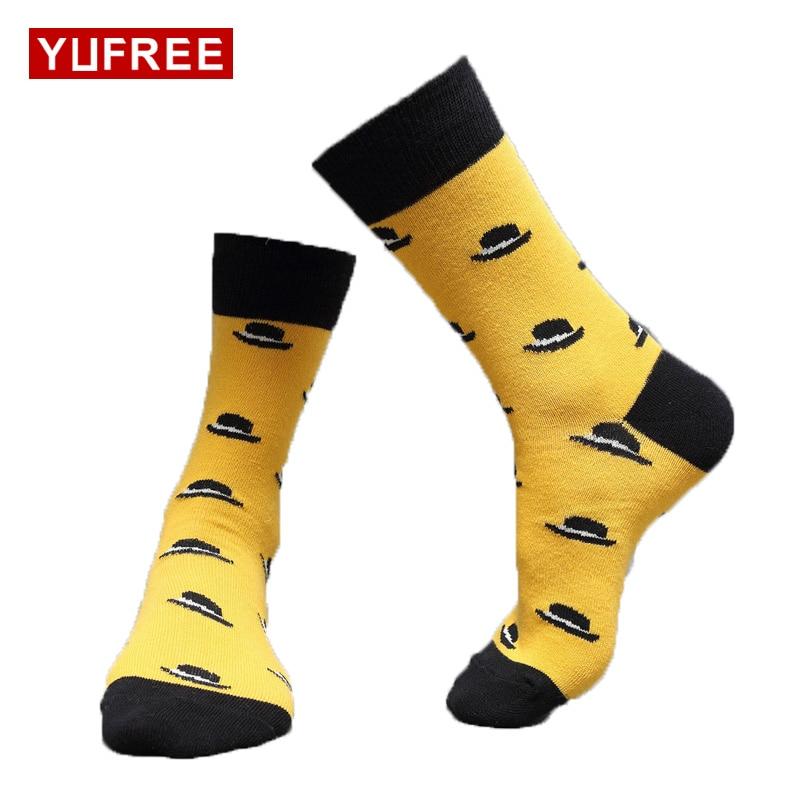 Yufree New Autumn Winter Men Socks Pure Cotton Cartoon Funny Socks Men Casual Breathble Socks Man Socks