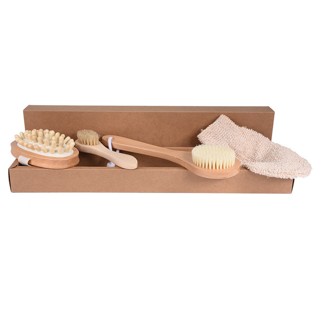 4Pcs/Set Qualified Shower Brush Boar Bristles Soft Bath Brush Exfoliating Body Massager with Long Wooden Handle 2
