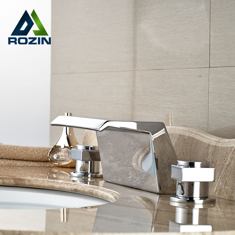 Brass Chrome Bathroom Widespread Waterfall Basin Faucet Dual Handles Tub Mixer Taps Deck Mounted