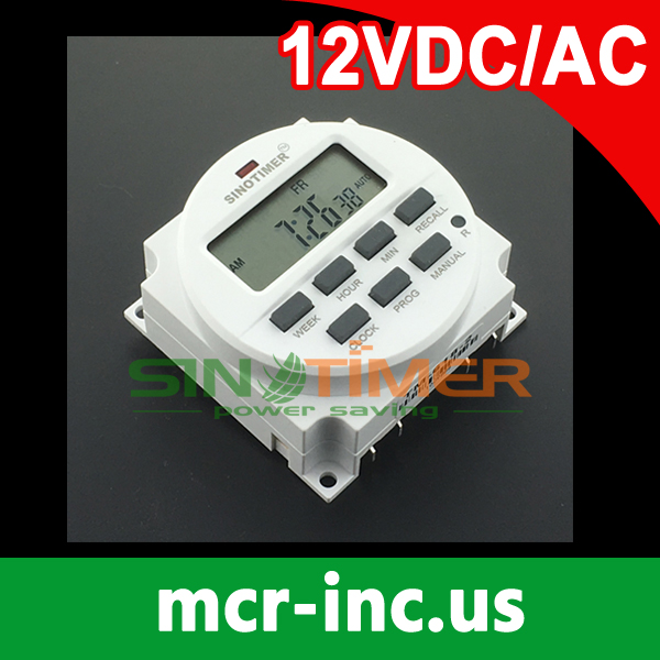 12/24hr Format Clock Display BIG LCD 1.598 Inch 12V DC Time switch 7 Days Programmable Timer with UL listed Relay Inside stinger alpha 3 5 26